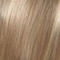 3 tone color combination with medium brown roots offering neutral blonde and soft golden blonde highlights blended together