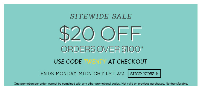 $20 off orders over $100